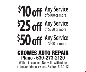 $10 off Any Service of $100 or more OR $25 off Any Service of $250 or more OR $50 off Any Service of $500 or more. With this coupon. Not valid with other offers or prior services. Expires 6-30-17.