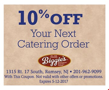 10% off your next catering order