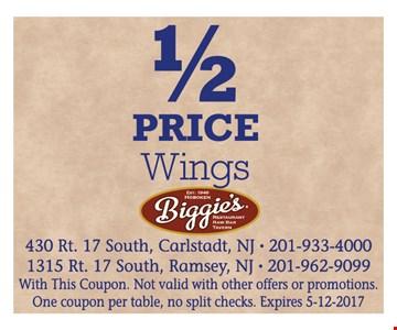 1/2 price wings