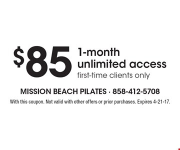 $85 1-month unlimited access, first-time clients only. With this coupon. Not valid with other offers or prior purchases. Expires 4-21-17.