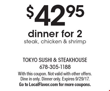 $5 off any purchase of $30 or more - before tax. With this coupon. Not valid with other offers. Dine in only. Dinner only. Expires 4-14-17.