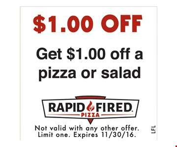 $1 off a pizza or salad