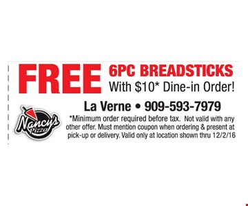Free 6 PC Breadsticks
