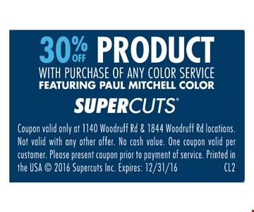 30% off product with purchase of any color service