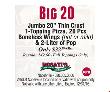 Only $32.99 plus tax for Big 20-Jumbo 20