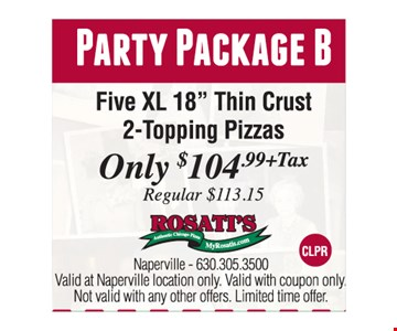 Party Package B: 5 XL 18