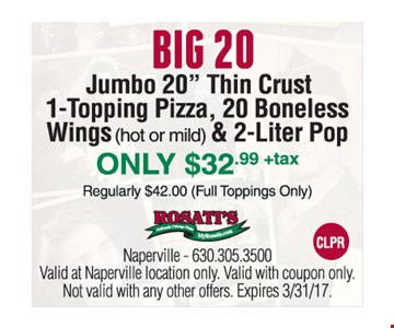 Big 20 Only $32.99 +tax