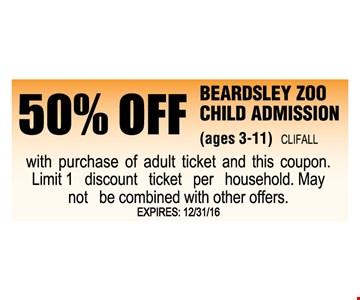 50% off Beardsley Zoo child admission