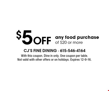 $5 Off any food purchase of $20 or more. With this coupon. Dine in only. One coupon per table. Not valid with other offers or on holidays. Expires 12-9-16.