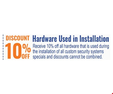 10% off hardware used in installation
