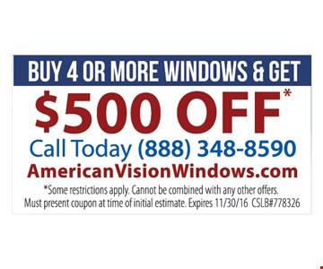 buy 4 or more windows get $500 off