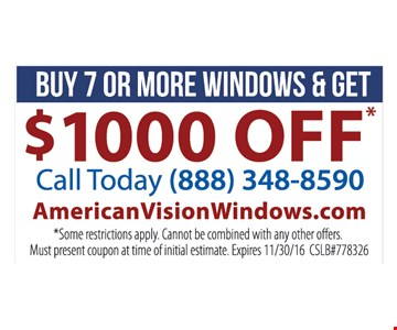 buy 7 or more windows get $1000 off