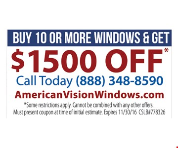 buy 10 or more windows get $1500 off