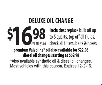 $16.98 deluxe oil change. Includes: replace bulk oil up to 5 quarts, top off all fluids, check all filters, belts & hoses premium. Valvoline oil also available for $22.98. Diesel oil changes starting at $69.98. *Also available synthetic oil & diesel oil changes. Most vehicles with this coupon. Expires 12-2-16.