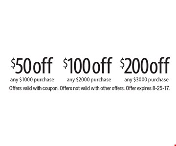 $50 off any $1000 purchase, $100off any $2000 purchase, $200off any $3000 purchase. Offers valid with coupon. Offers not valid with other offers. Offer expires 8-25-17.