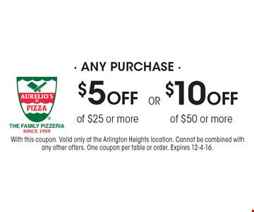 $10 OFF any purchase of $50 or more or $5 OFF any purchase of $25 or more. With this coupon. Valid only at the Arlington Heights location. Cannot be combined with any other offers. One coupon per table or order. Expires 12-4-16.