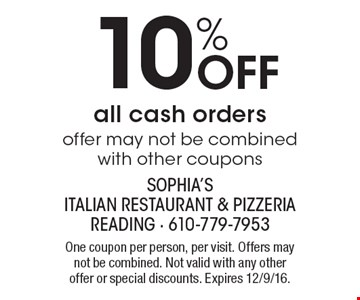 10% Off all cash orders, offer may not be combined with other coupons. One coupon per person, per visit. Offers may not be combined. Not valid with any other offer or special discounts. Expires 12/9/16.