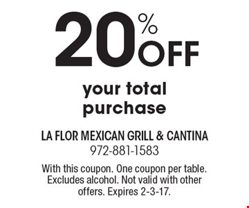 20% off your total purchase. With this coupon. One coupon per table. Excludes alcohol. Not valid with other offers. Expires 2-3-17.