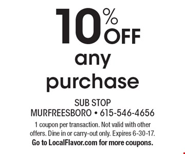 10% OFF any purchase. 1 coupon per transaction. Not valid with other offers. Dine in or carry-out only. Expires 6-30-17.Go to LocalFlavor.com for more coupons.