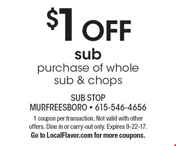 $1 OFF sub purchase of whole sub & chops. 1 coupon per transaction. Not valid with other offers. Dine in or carry-out only. Expires 9-22-17. Go to LocalFlavor.com for more coupons.
