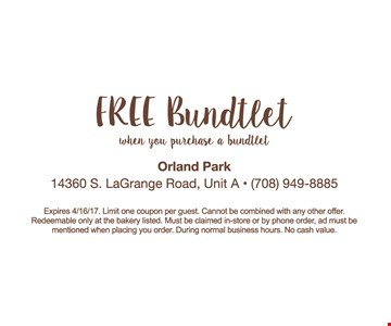 Free Bundtlet when you purchase a bundtlet