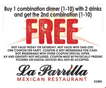 buy 1 combination dinner (1-10) with 2 drinks and get the 2nd combination (1-10) FREE. Expires 10-27-17.
