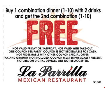 Buy 1 combination Dinner(1-10) with 2 drinks and get the 2nd combination (1-10) FREE