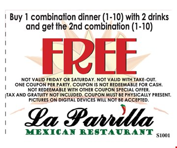 1 combination dinner (1-10) with 2 drinks and get 2nd combination (1-10) free