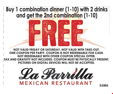Buy 1 Combination Dinner (1-10) With 2 Drinks And Get The 2nd Combination (1-10) Free. S1001
