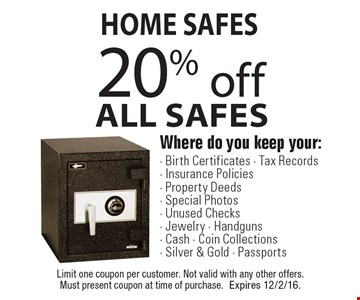 Home Safes - 20% off All Safes. Where do you keep your: Birth Certificates, Tax Records, Insurance Policies, Property Deeds, Special Photos, Unused Checks, Jewelry, Handguns, Cash, Coin Collections, Silver & Gold, Passports. Limit one coupon per customer. Not valid with any other offers. Must present coupon at time of purchase. Expires 12/2/16.