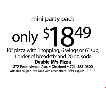 Mini party Pack. Only $18.49 for a 10