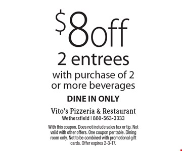 $8 off 2 entrees with purchase of 2 or more beverages. Dine in only. With this coupon. Does not include sales tax or tip. Not valid with other offers. One coupon per table. Dining room only. Not to be combined with promotional gift cards. Offer expires 2-3-17.