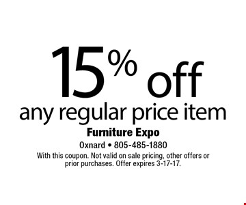 15% off any regular price item. With this coupon. Not valid on sale pricing, other offers or prior purchases. Offer expires 3-17-17.