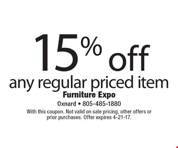 15% off any regular priced item. With this coupon. Not valid on sale pricing, other offers or prior purchases. Offer expires 4-21-17.