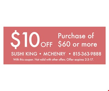 $10 off purchase of $60 or more