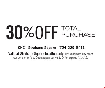 30% OFF TOTAL PURCHASE. Valid at Strabane Square location only. Not valid with any other coupons or offers. One coupon per visit. Offer expires 4/14/17.