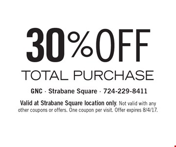 30% OFF TOTAL PURCHASE . Valid at Strabane Square location only. Not valid with any other coupons or offers. One coupon per visit. Offer expires 8/4/17.