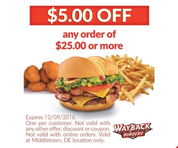 $5.00 OFF any order $25.00 or more