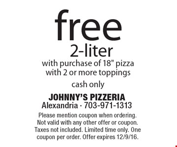 free 2-liter with purchase of 18