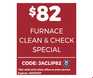 $82 Furnace Clean & Check Special