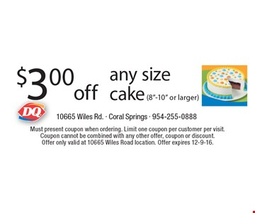 $3.00 off any size cake (8