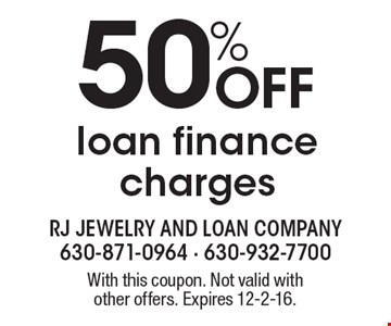 50% Off Loan Finance Charges. With this coupon. Not valid with other offers. Expires 12-2-16.