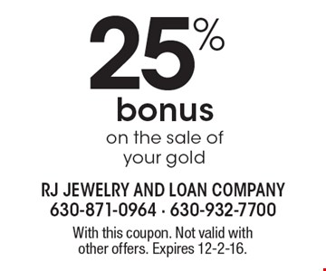 25% Bonus On The Sale Of Your Gold. With this coupon. Not valid with other offers. Expires 12-2-16.
