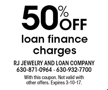 50% Off loan finance charges. With this coupon. Not valid with other offers. Expires 3-10-17.
