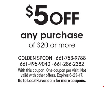 $5 OFF any purchase of $20 or more. With this coupon. One coupon per visit. Not valid with other offers. Expires 6-23-17. Go to LocalFlavor.com for more coupons.