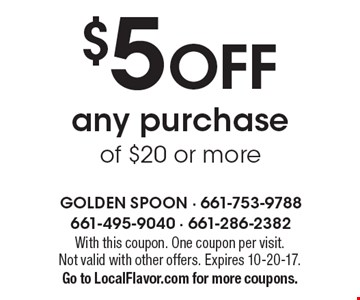 $5 OFF any purchase of $20 or more. With this coupon. One coupon per visit. Not valid with other offers. Expires 10-20-17. Go to LocalFlavor.com for more coupons.