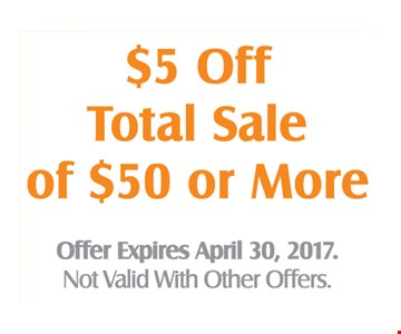 $5 off total sale of $50 or more