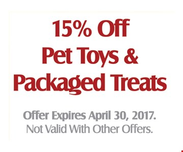 15% Off Pet Toys & Packaged Treats