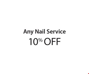 10% OFF Any Nail Service. With these coupons. Walk-ins welcome. Appointments preferred. Not valid with other offers. Hair length & density charges may apply. Offer expires 3-10-17.