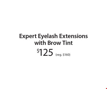$125 (reg. $160) Expert Eyelash Extensionswith Brow Tint. With these coupons. Walk-ins welcome. Appointments preferred. Not valid with other offers. Hair length & density charges may apply. Offer expires 3-10-17.